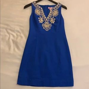 Lilly Pulitzer Blue and Gold Shift Dress